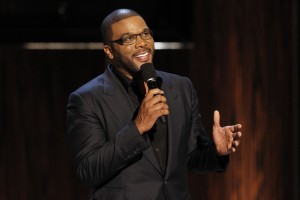 """Perry speaks during the taping of the Spike TV special tribute """"Eddie Murphy: One Night Only"""" at the Saban theatre in Beverly Hills"""